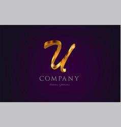 U gold golden alphabet letter logo icon design vector