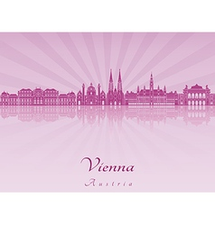 Vienna skyline in purple radiant orchid vector image