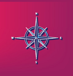 wind rose sign blue 3d printed icon on vector image