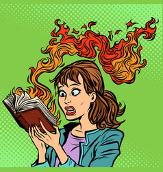 Woman reading a burning book censorship concept vector