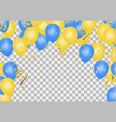 Yellow and blue balloons on the translucent floor vector