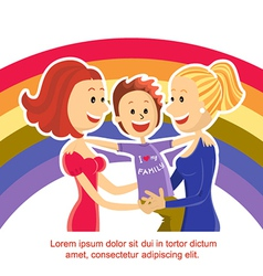 Young lesbian couple family with son on rainbow vector