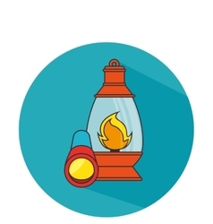 Camping lantern isolated icon vector