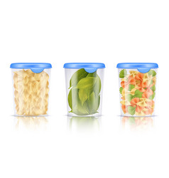 filled plastic food containers icon set vector image vector image