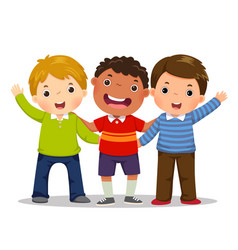 group of three happy boys standing together vector image vector image