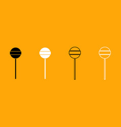 lollipop black and white set icon vector image vector image