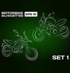 Motorbike silhouettes set 1 vector
