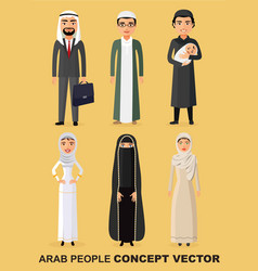 family concept set of cartoon different arab vector image vector image