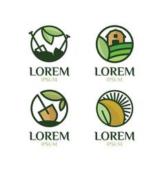 farming logo set vector image vector image