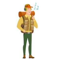 Traveler listening to music in headphones vector
