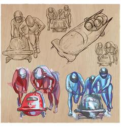 Winter sport - bobsleigh an hand drawn pack vector