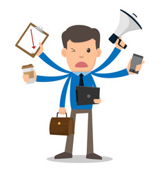 businessman unhappy with multitasking and multi vector image vector image