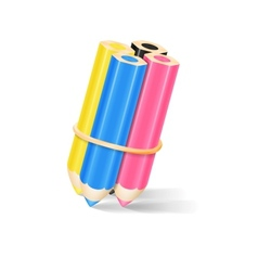 CMYK Pencils With Rubber Band vector image vector image