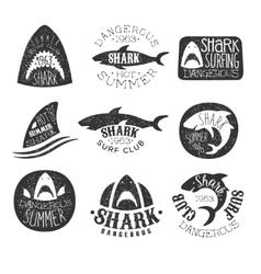 Dangerous Shark Surf Club Set Of Black And White vector image