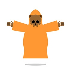 Death bear in yellow clothes reaches out his hands vector