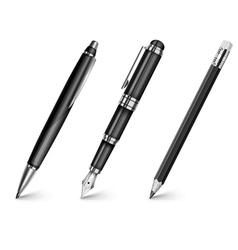 pencil pen fountain pen vector image vector image
