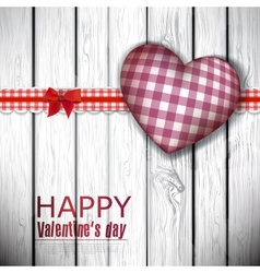 Red cloth handmade hearts on wooden background vector image vector image