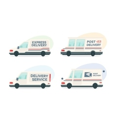 Set of cartoon delivery post car courier vector image vector image