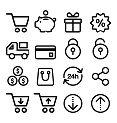 Shopping online store icons set- line stroke vector image vector image