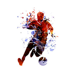 watercolor silhouette soccer vector image