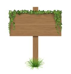 wooden sign ivy grass vector image vector image