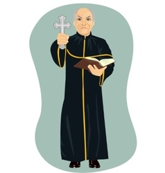 Angry senior priest holding holy bible and cross vector