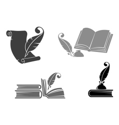 Books and quills vector image vector image