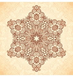 Decorative star mandala in Indian mehndi style vector image