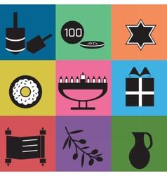 hanukkahsetcolors vector image