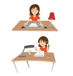 Woman at desk vector