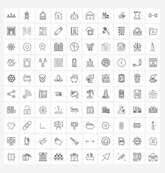 100 universal line icons for web and mobile droid vector