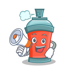 Aerosol spray can character cartoon with megaphone vector