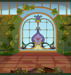 An arched window with stained glass in winter vector