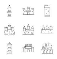 Ancient castles icon set outline style vector