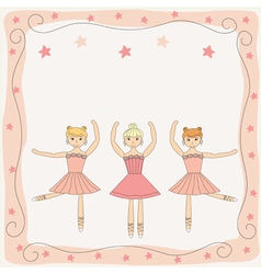Background with three ballerinas vector image