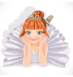 Beautiful ballerina girl in white dress lie on vector