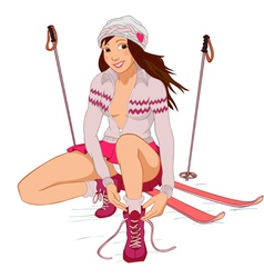 Beautiful pin-up girl with skis vector image