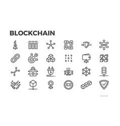 Blockchain technology icons cryptography crypto vector