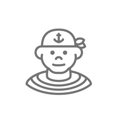 boatswain sailor pirate line icon vector image