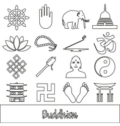 Buddhism religions outline symbols set of icons vector