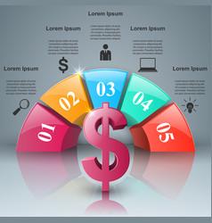 Business infographics dollar money icon vector