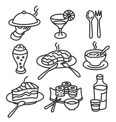 cafe food icons vector image