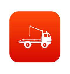 car towing truck icon digital red vector image