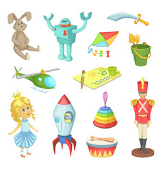 Cartoon set of toys for kids boys and girls funny vector
