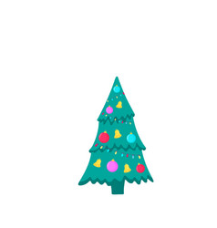 christmas fir-tree icon on white background vector image