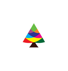 christmas tree colorful geometric icon vector image