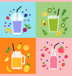 Collection of different colorful smoothies fruit vector
