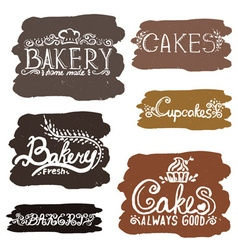 Collection of handwritten vintage retro bakery vector image