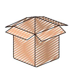 Color crayon silhouette closeup carboard box vector
