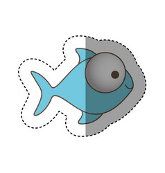 Color fish with big eyes icon vector